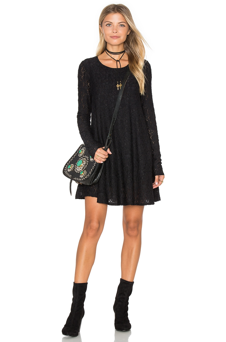 Show Me Your Mumu Tyler Tunic Dress in Falling Leaf Lace Black