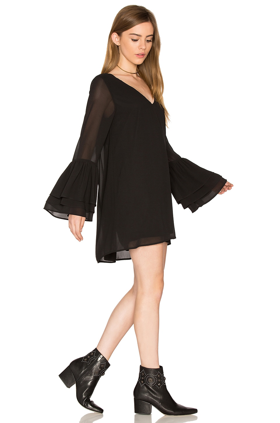 Show Me Your Mumu Nolita Mini Dress in Black Chiffon