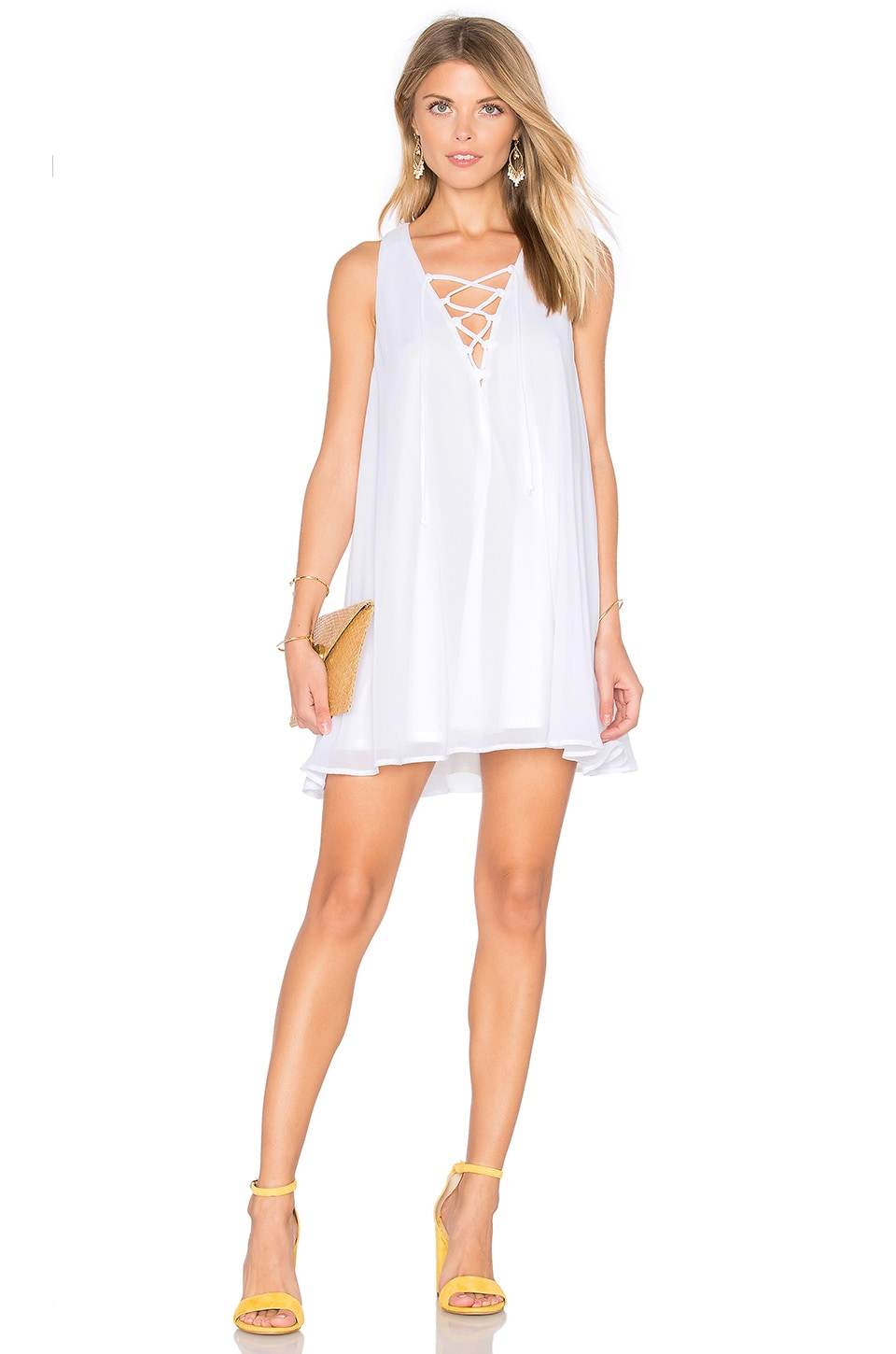 Show Me Your Mumu Rancho Mirage Lace Up Dress in White Chiffon