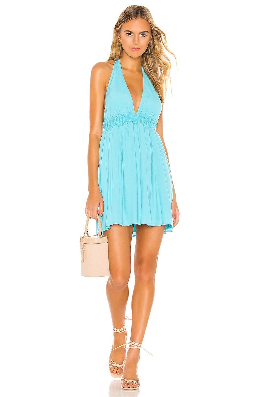 Show Me Your Mumu X REVOLVE Island Mini Dress in Turquoise Crepe