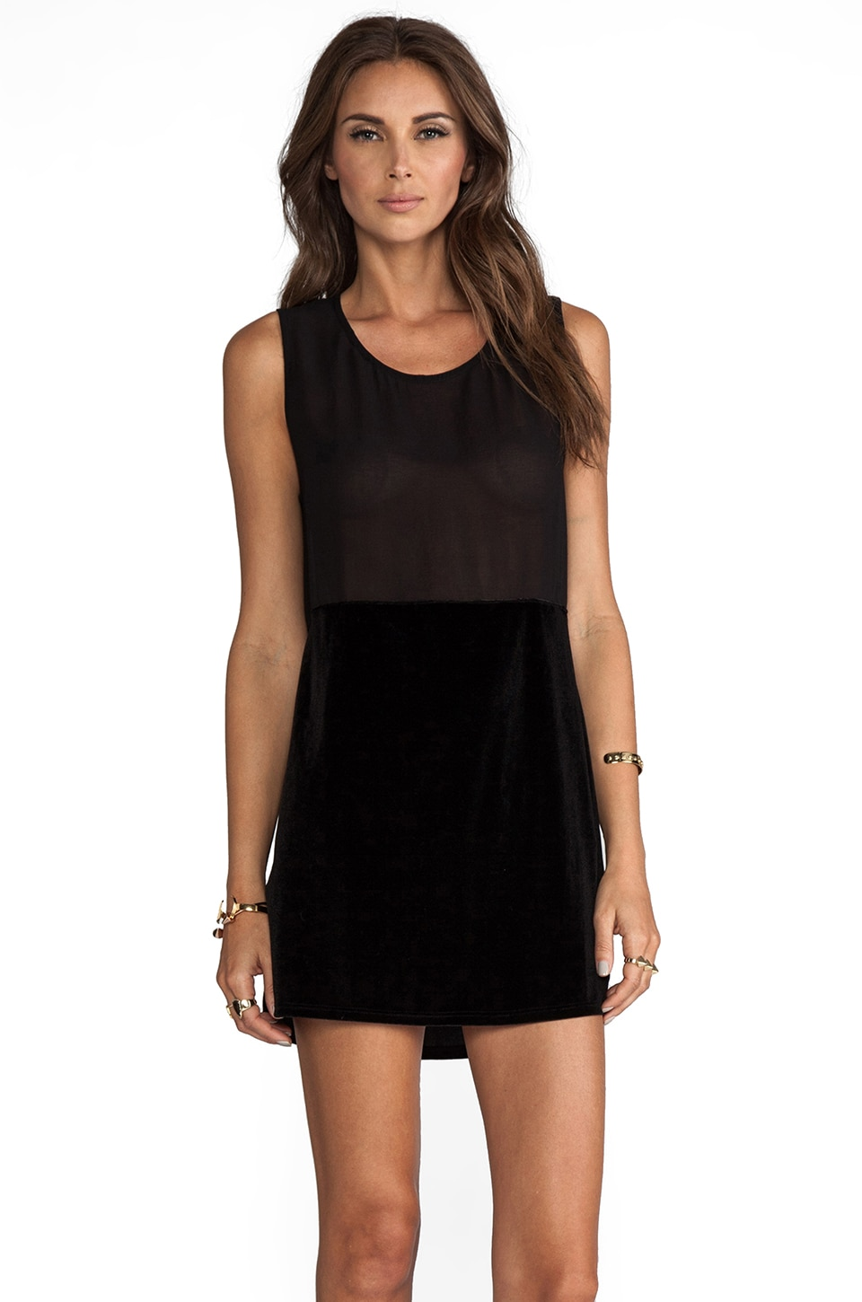 Show Me Your Mumu Pepper Mini Dress in Velvet/Chiffon