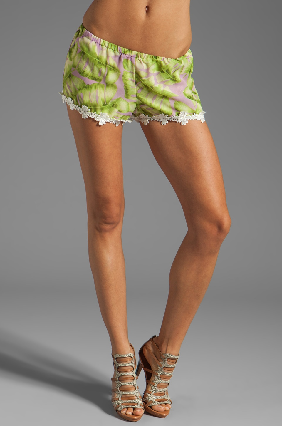 Show Me Your Mumu Bri Lacey Shorts in Green Palm