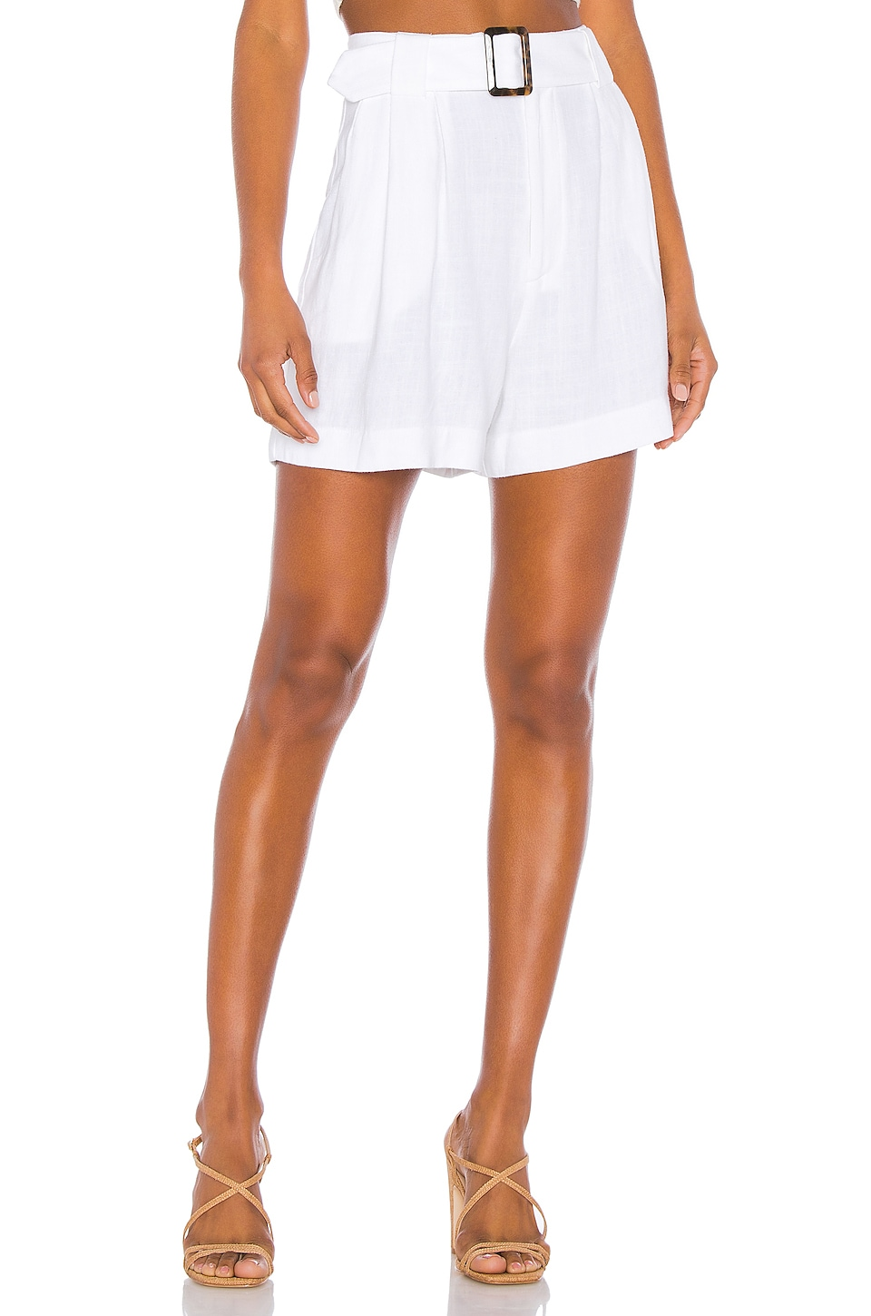 Show Me Your Mumu Percy Shorts in White Linen