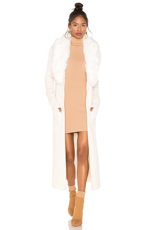 Show Me Your Mumu Lombardi Faux Fur Long Cardigan in Snowy White
