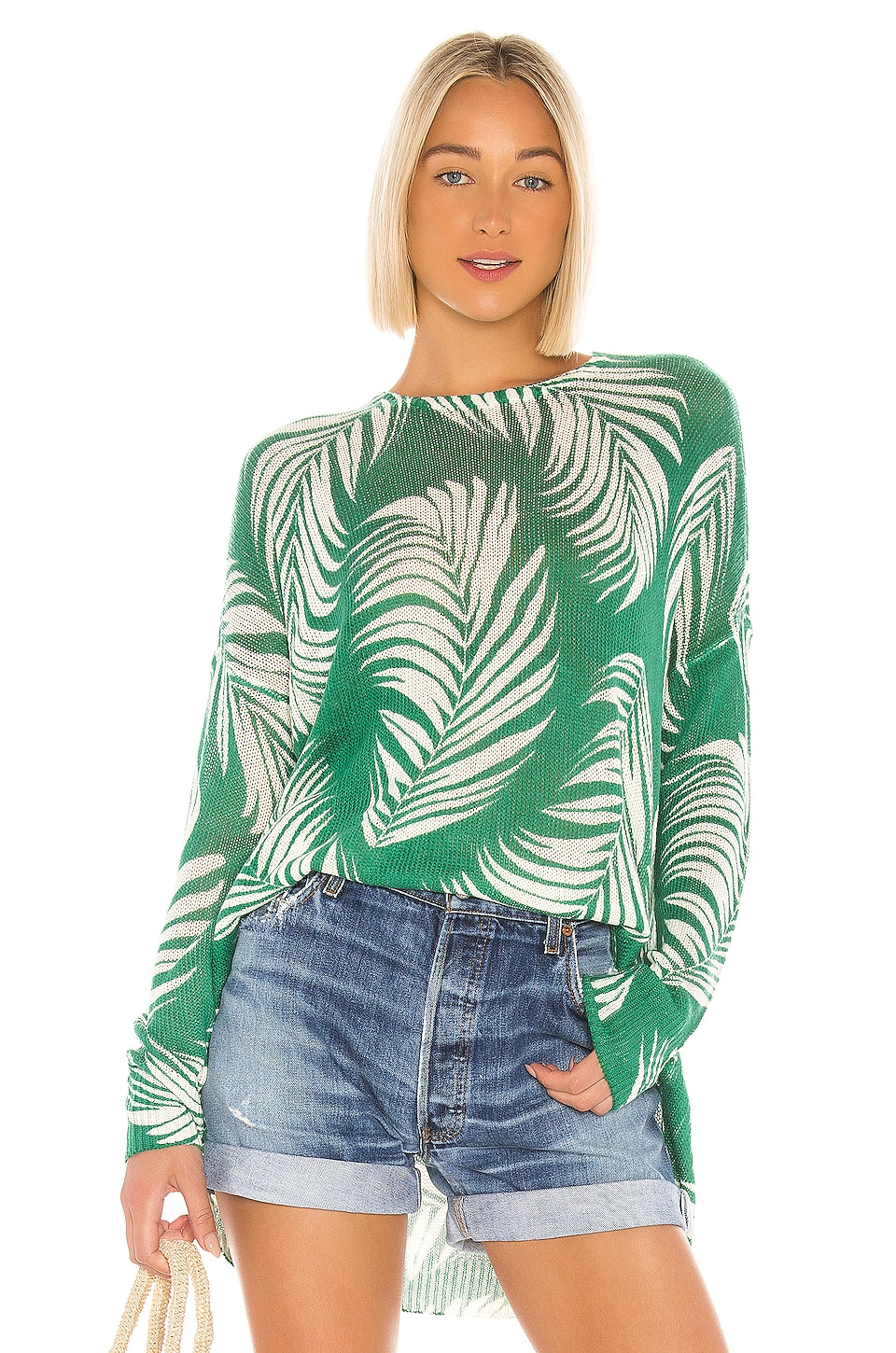 Show Me Your Mumu X REVOLVE Bonfire Sweater in Green & White