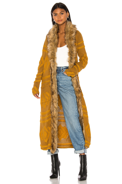 Show Me Your Mumu Langston Faux Fur Cardigan in Textured Geo