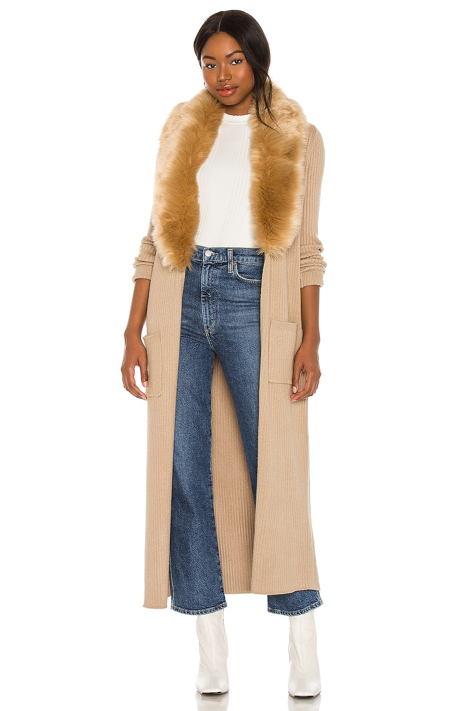 Show Me Your Mumu Lombardi Long Cardigan in Taupe With Faux Fur