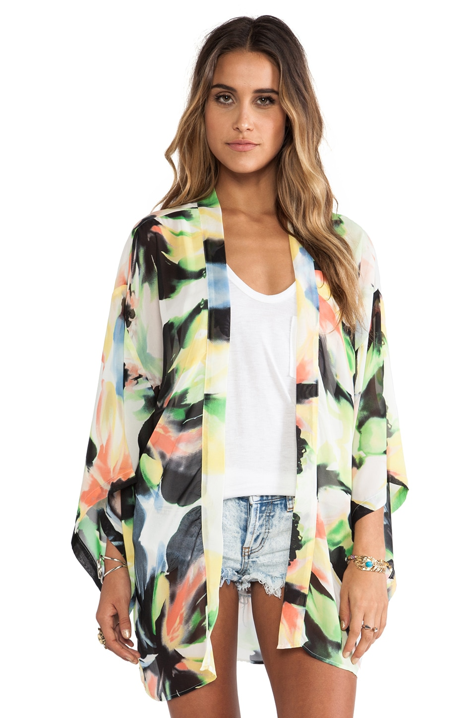Show Me Your Mumu Texas Kimono in Water Color Flowers