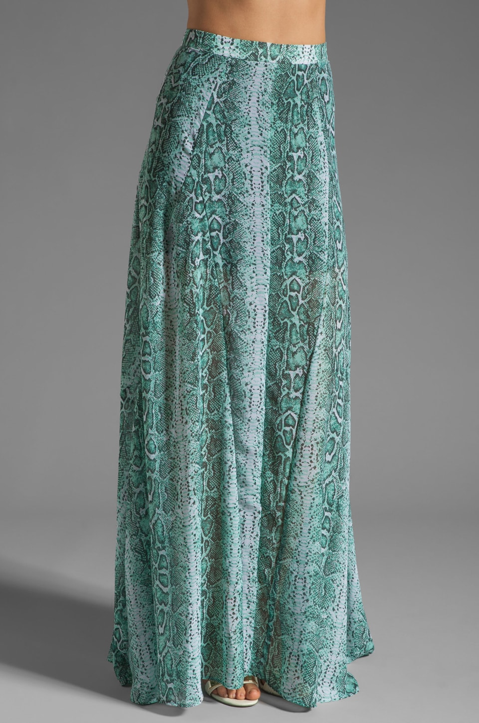 Show Me Your Mumu Princess Di Ball Gown in Turquoise Python