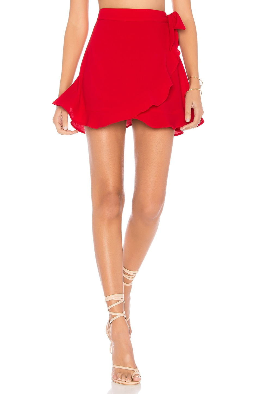 Show Me Your Mumu Roam Ruffle Skirt in Tomato Red Pebble
