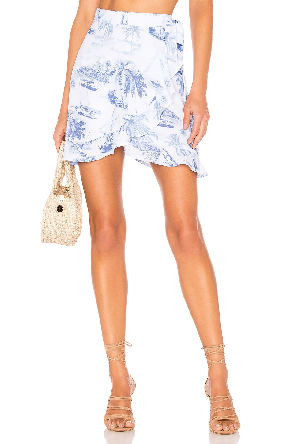 Show Me Your Mumu Skirts SHOW ME YOUR MUMU X REVOLVE ROAM RUFFLE SKIRT IN BLUE.