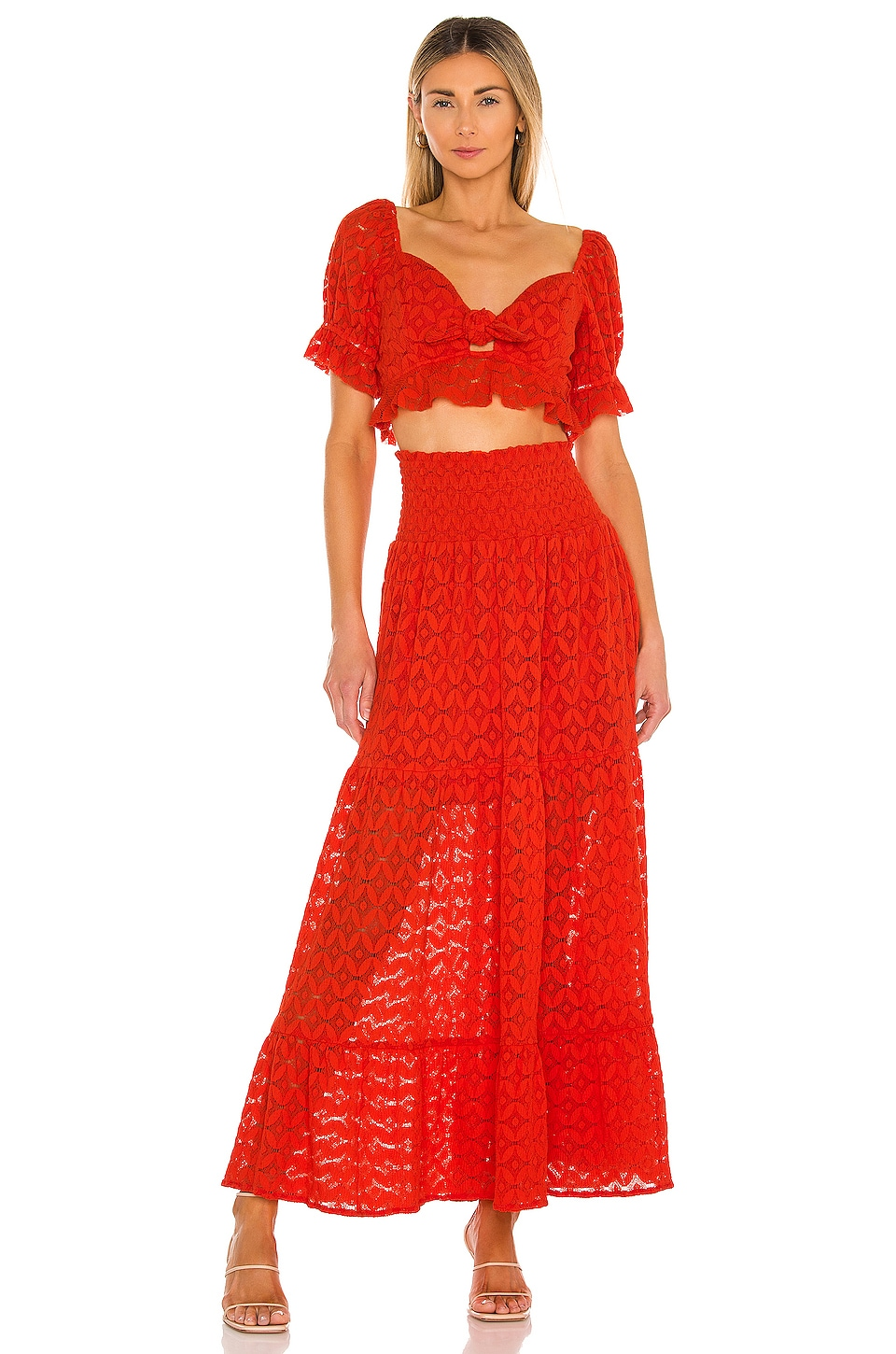 Show Me Your Mumu Melinda Maxi Skirt in Spacey Lacey Red