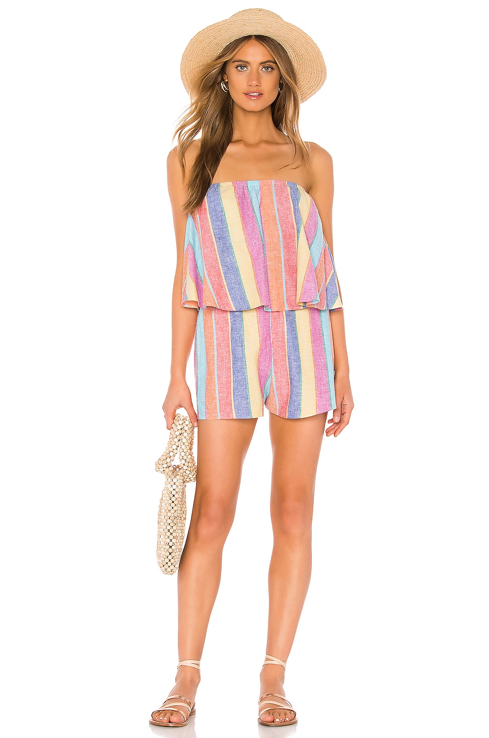 Show Me Your Mumu Thelma Romper in Rainbow Linen Stripe