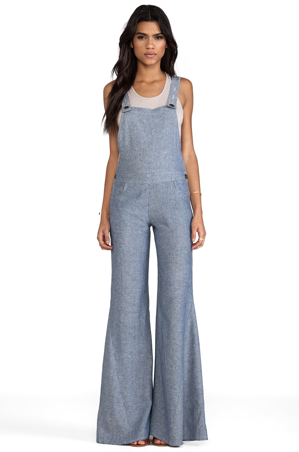 Show Me Your Mumu Billy Bob Overalls in Washed Chambray