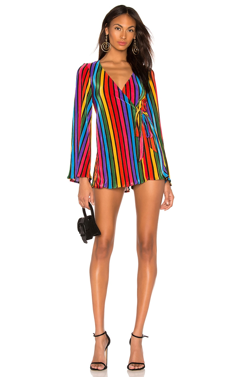 Show Me Your Mumu Caleb Romper in Rainbow Parade Pleat