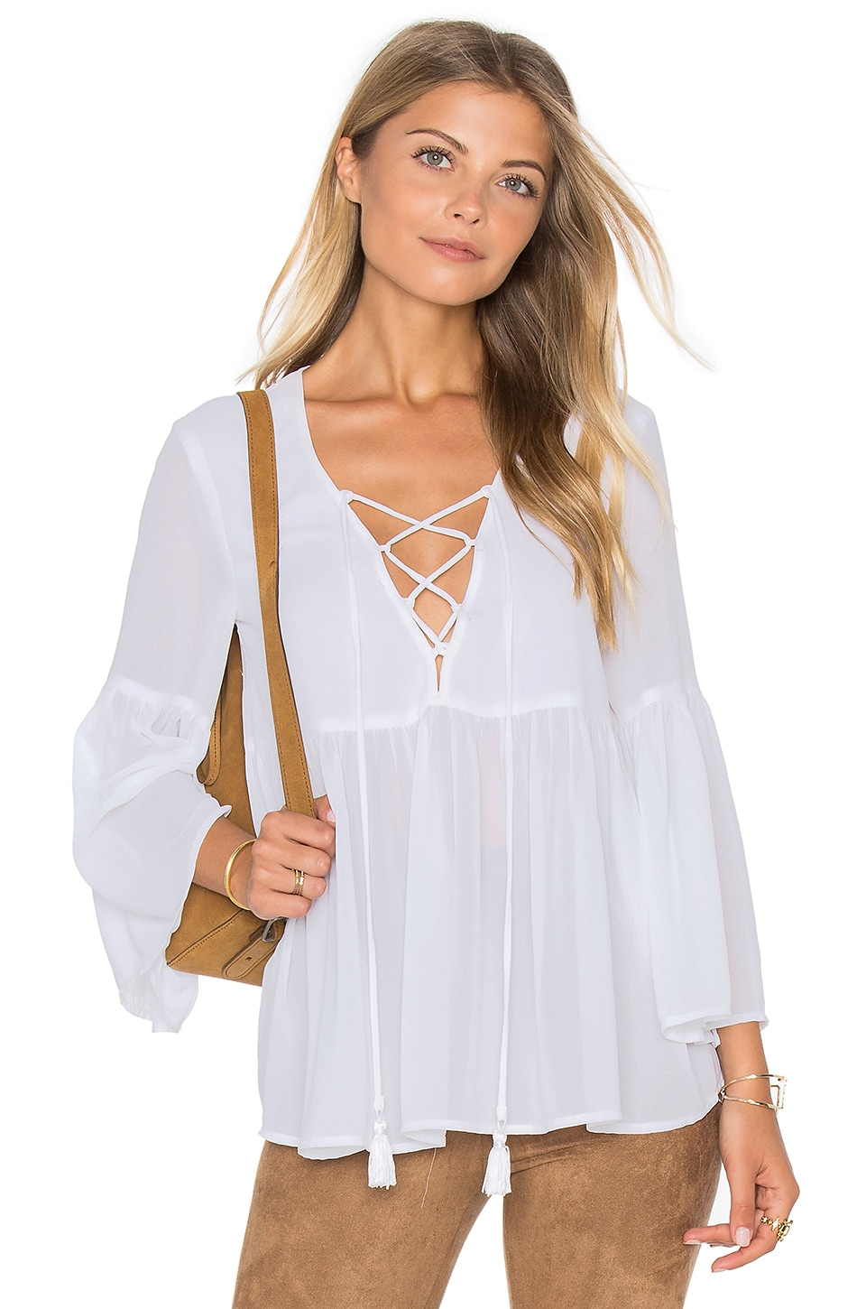 Show Me Your Mumu Poet Tie Top in White Chiffon