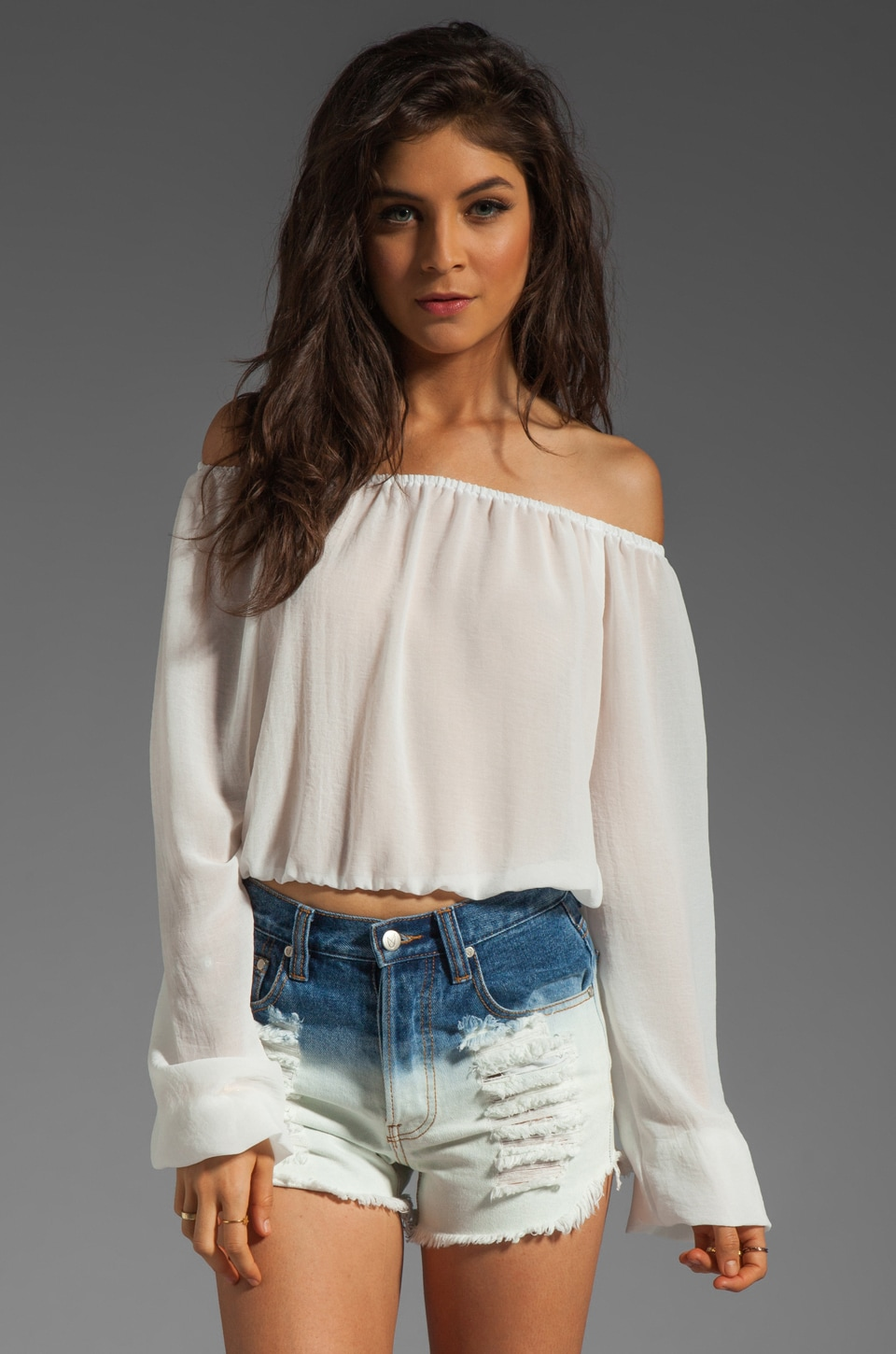 Show Me Your Mumu Lima Scrunch Top in Snow White Chiffon