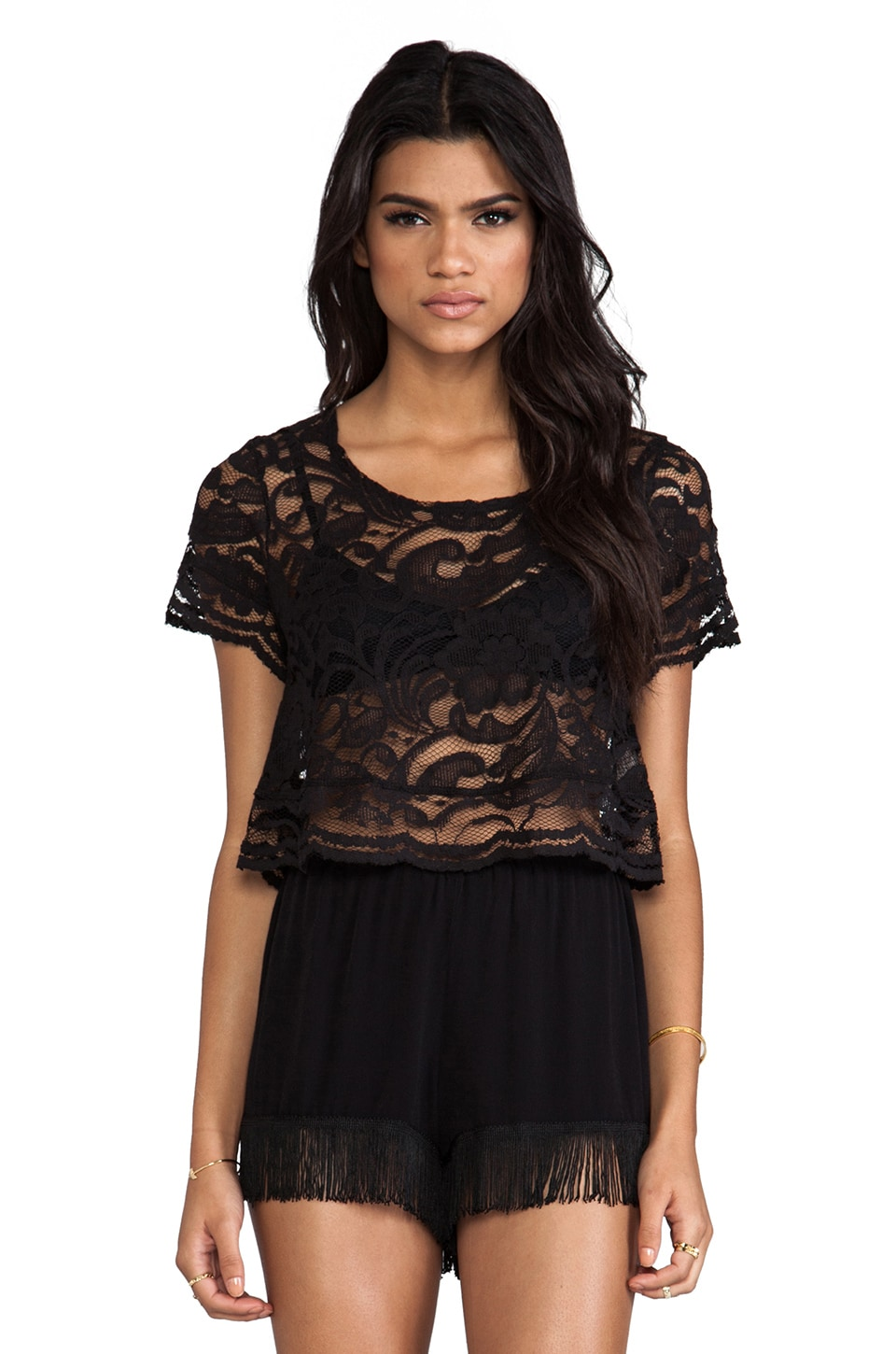Show Me Your Mumu Leah Crochet Top in Iola Black Lace