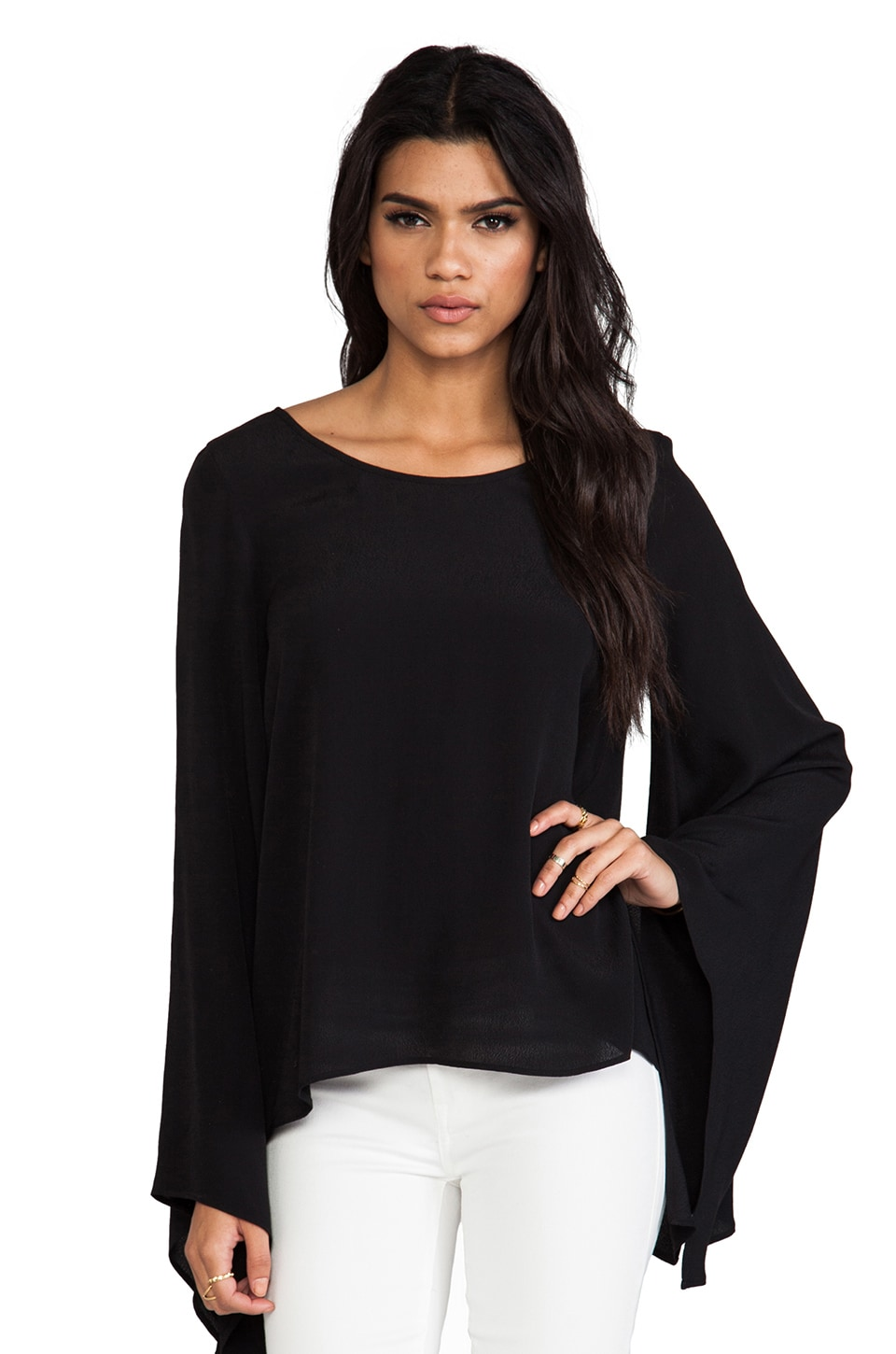 Show Me Your Mumu Baxter Strap Back Top in Black Crepe