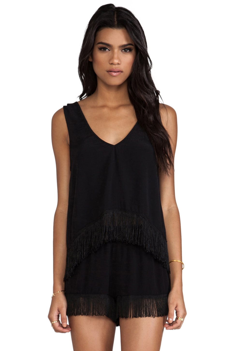 Show Me Your Mumu Foxy Fringe Tank in Black Crepe