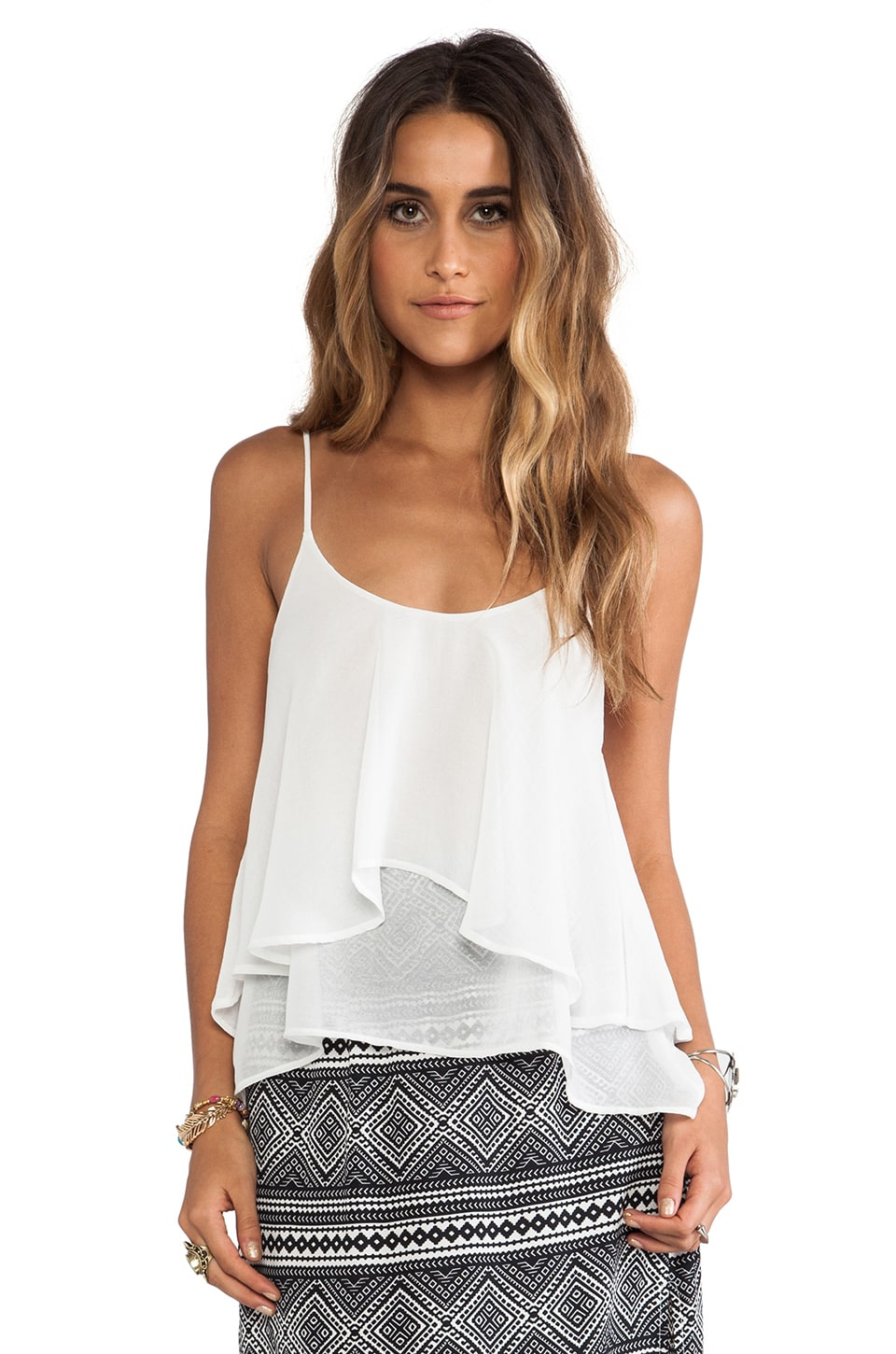 Show Me Your Mumu Jodi Ruffle Tank in White