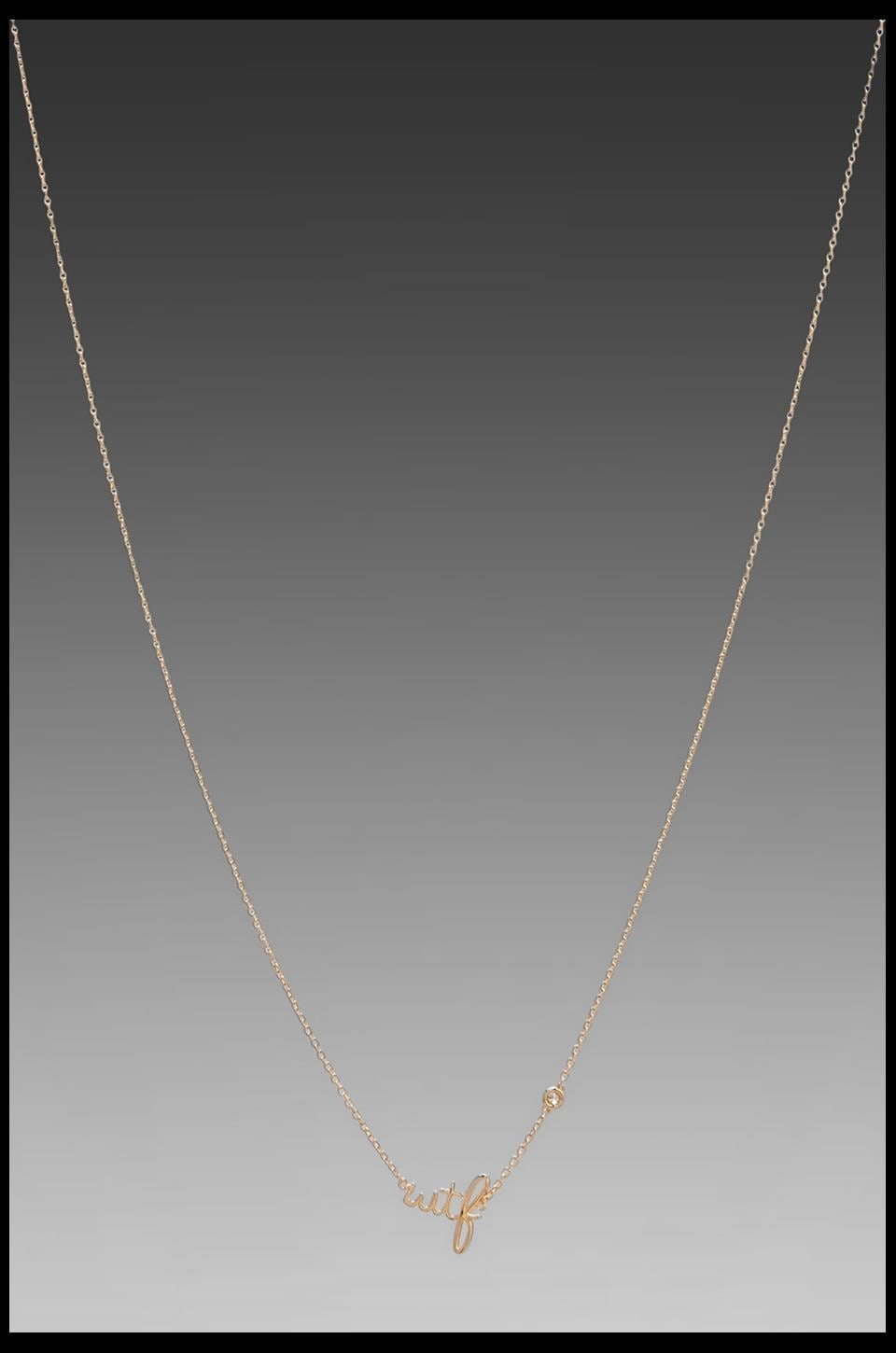 Shy by Sydney Evan WTF Necklace with Diamond Bezel in Yellow Gold