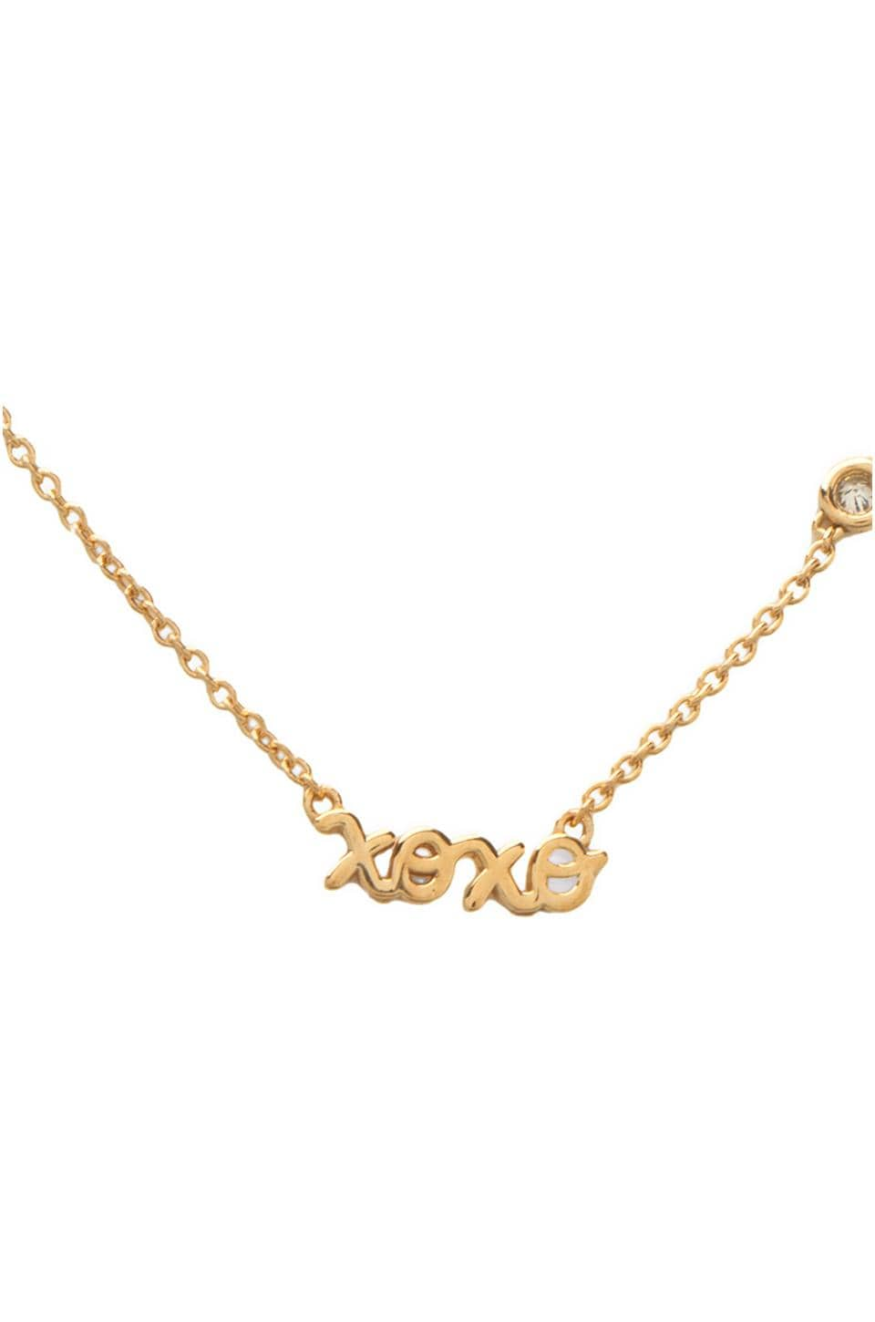 Shy by Sydney Evan XOXO Necklace with Diamond in Yellow Gold