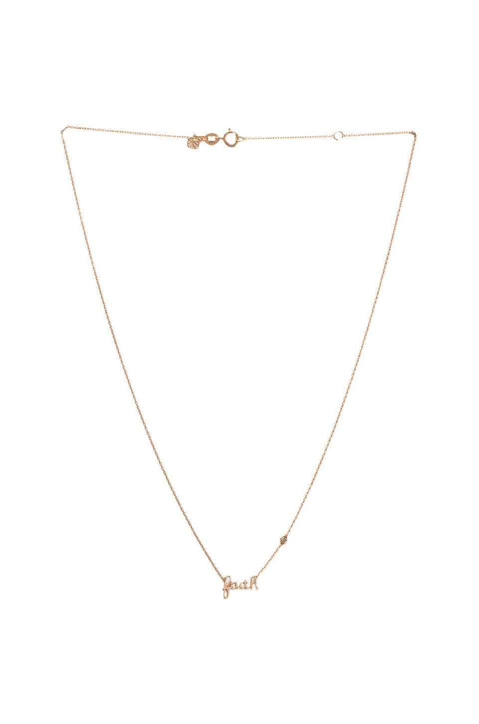 Shy by Sydney Evan Faith Necklace with Diamond in Rose Gold