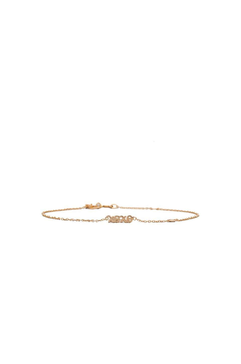 Shy by Sydney Evan XOXO Bracelet with Diamond in Yellow Gold