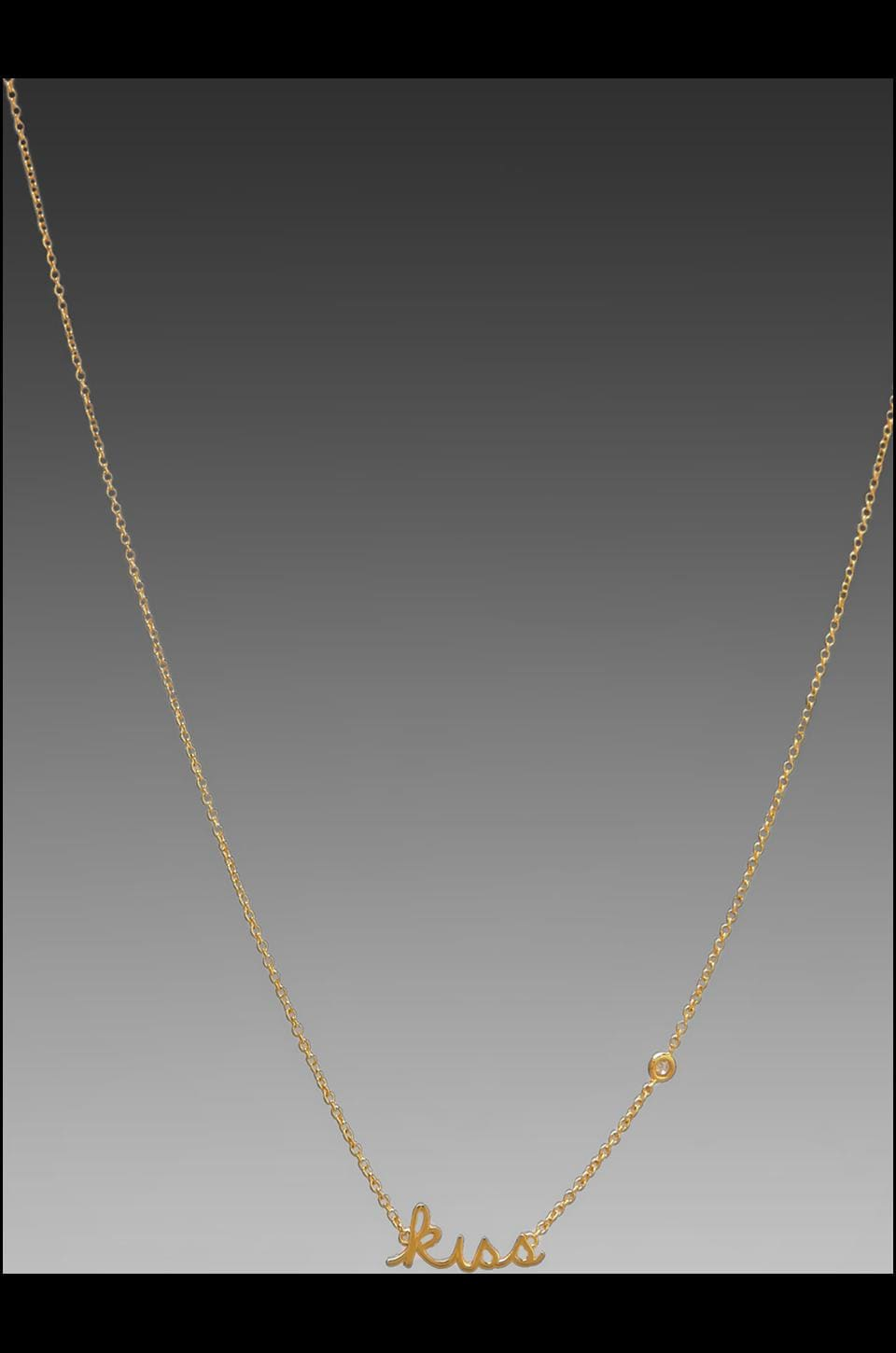 Shy by Sydney Evan Kiss Necklace with Diamond Bezel in Yellow Gold