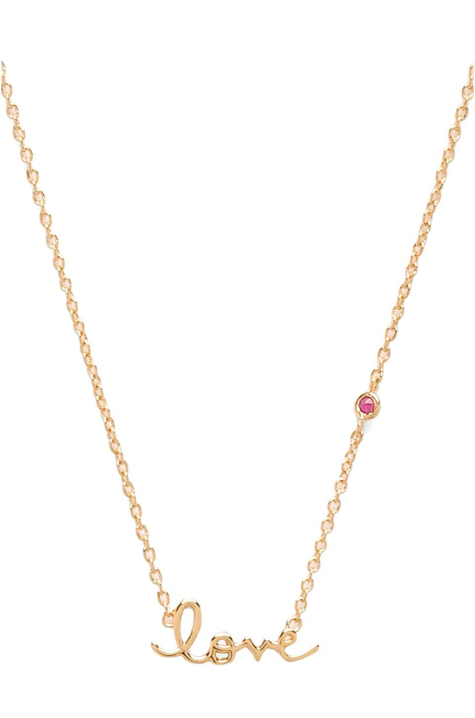 Shy by Sydney Evan Love Necklace with Ruby Stone in Gold