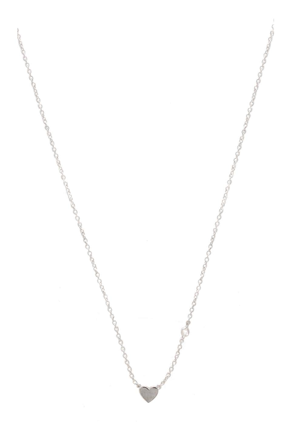 Shy by Sydney Evan Heart Necklace in Silver