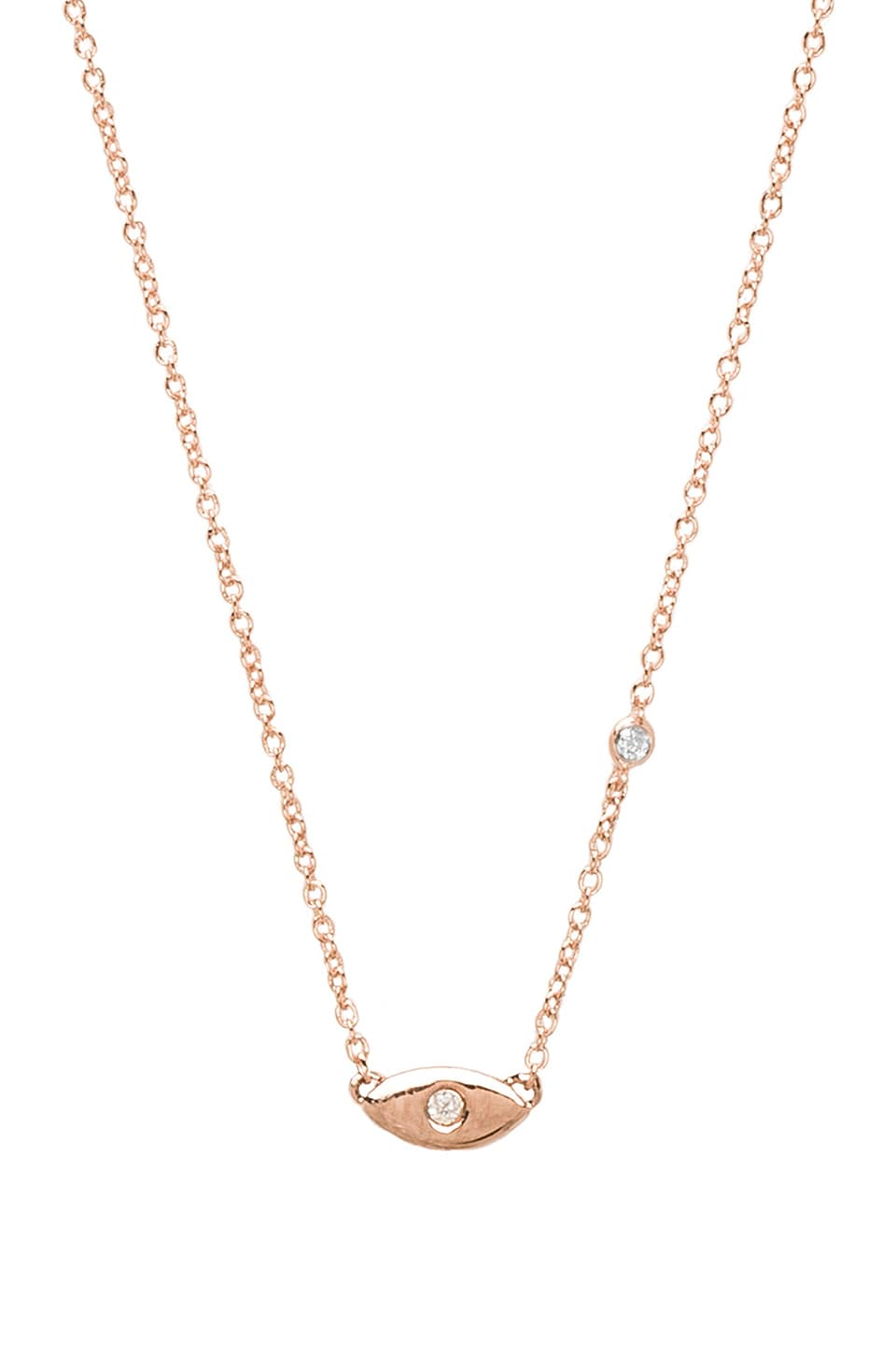 Shy by Sydney Evan Evil Eye Necklace in Rosegold