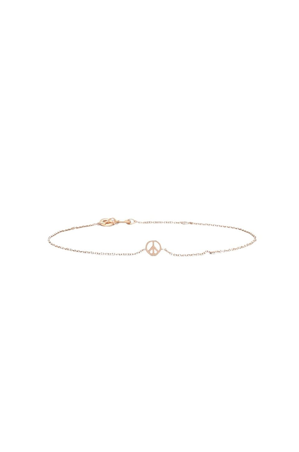 Shy by Sydney Evan Peace Sign Bracelet in Rose Gold