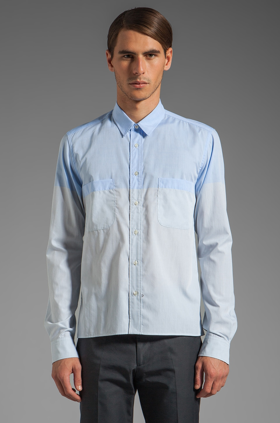 Sidian, Ersatz & Vanes Slim and Cropped Shirt w/ Pockets and Straight Hem in Sky Blue/Light Blue