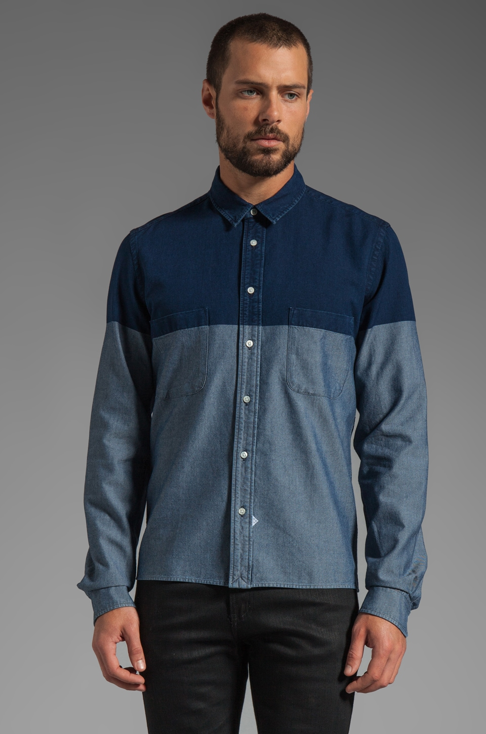Sidian, Ersatz & Vanes Slim and Cropped Shirt w/ Pockets and Straight Hem in Indigo