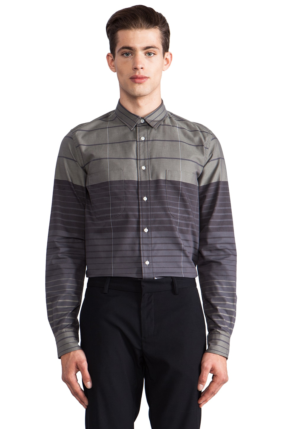 Sidian, Ersatz & Vanes Striped Button Down in Grey Gradient