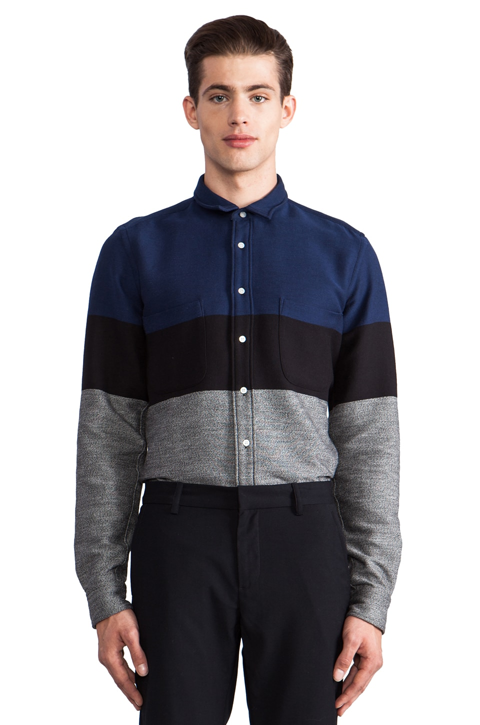 Sidian, Ersatz & Vanes Color Block Button Down in Blue/ Black/ Noise