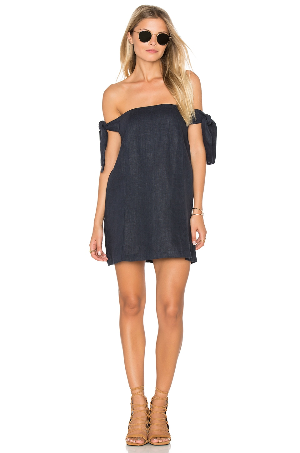 SIR the label Kobi Off The Shoulder Dress in Ink
