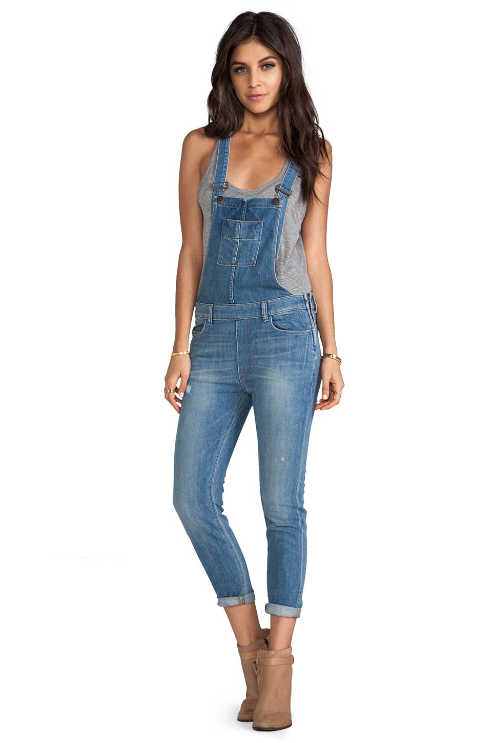 Siwy Sasha Slouchy Skinny Overalls in Cruising Around