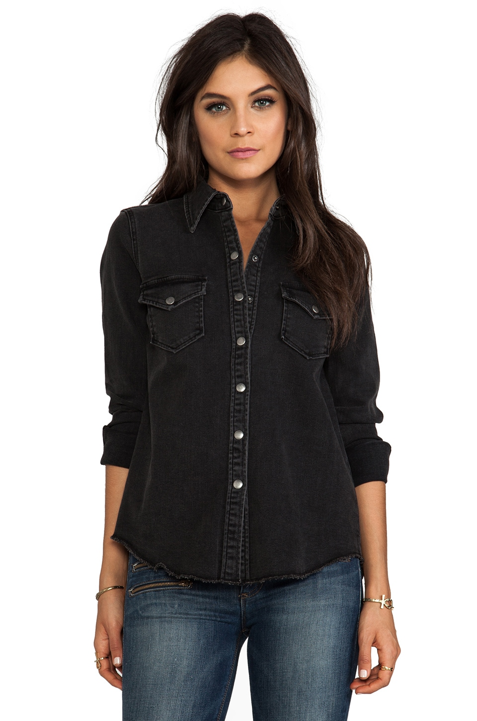 Siwy Ellie Denim Snap Front Shirt in One More Night