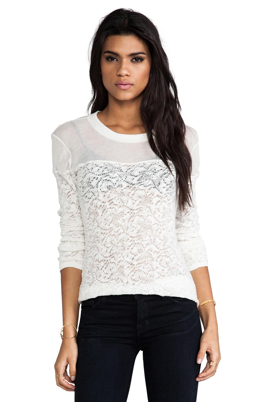 SJOBECK Mesh Yoke Sweater in White