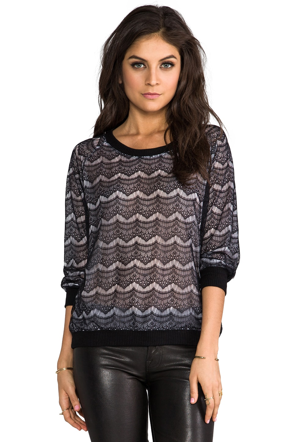 SJOBECK Lace Silk Sweatshirt in White/Black