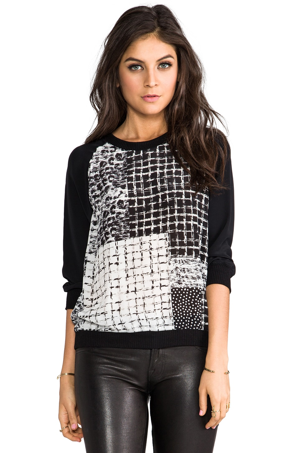 SJOBECK Lombard Patch Print Silk Sweatshirt in Black/White