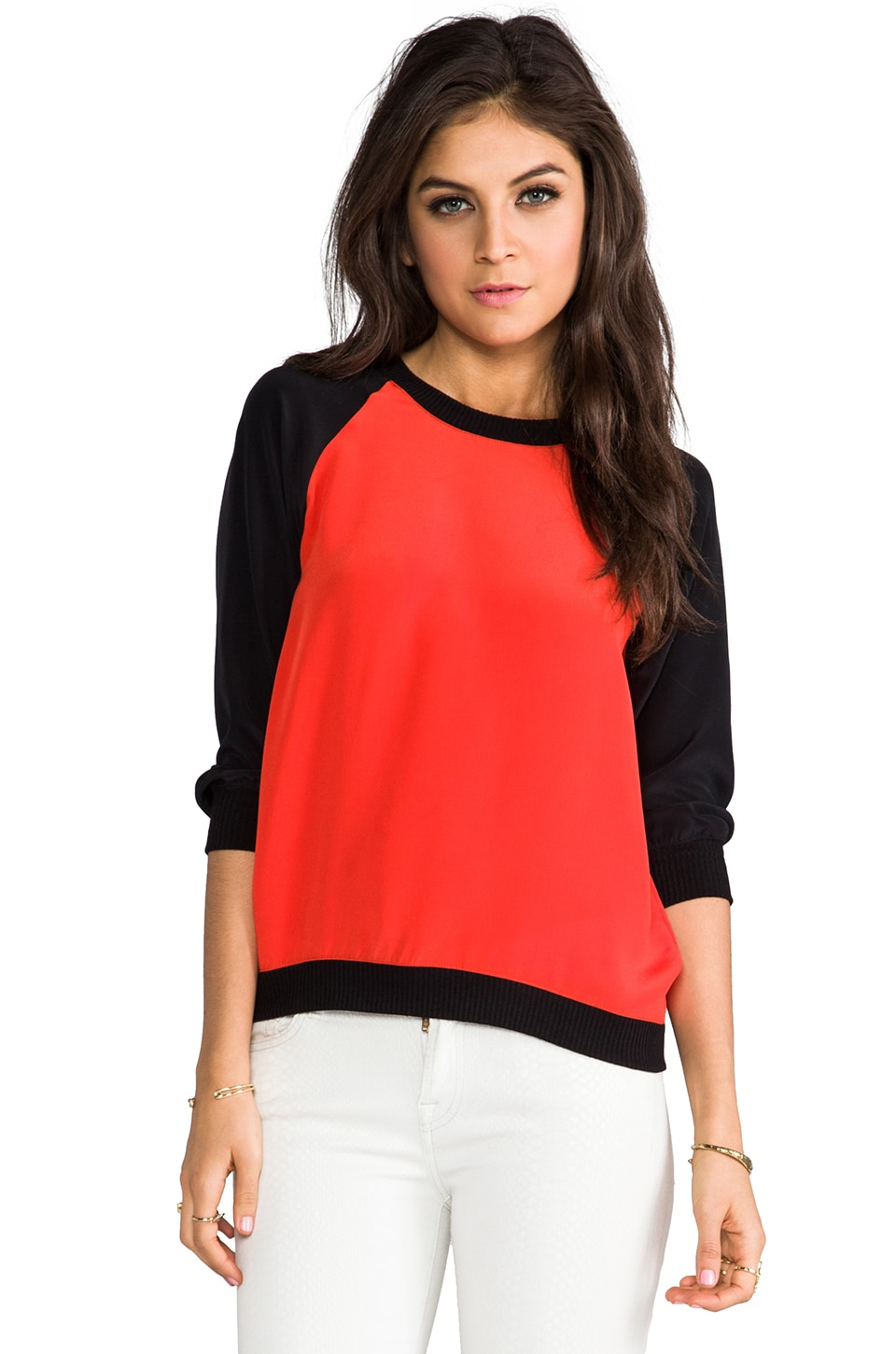 SJOBECK Lombard Silk Sweatshirt in Orange/Black