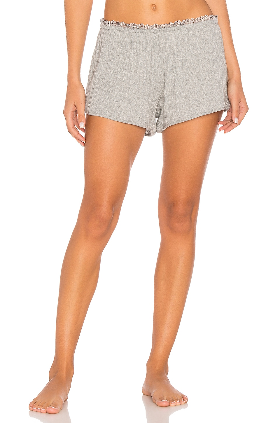 Skin Sleep Lace Trimmed Short in Heather Grey