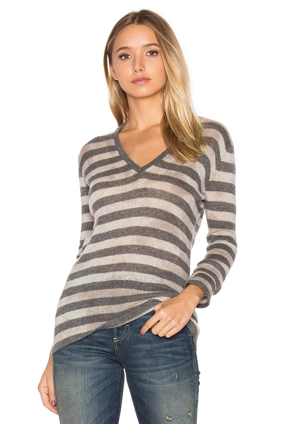 susanne karlsson Pelle V Neck Sweater in Charcoal Combo