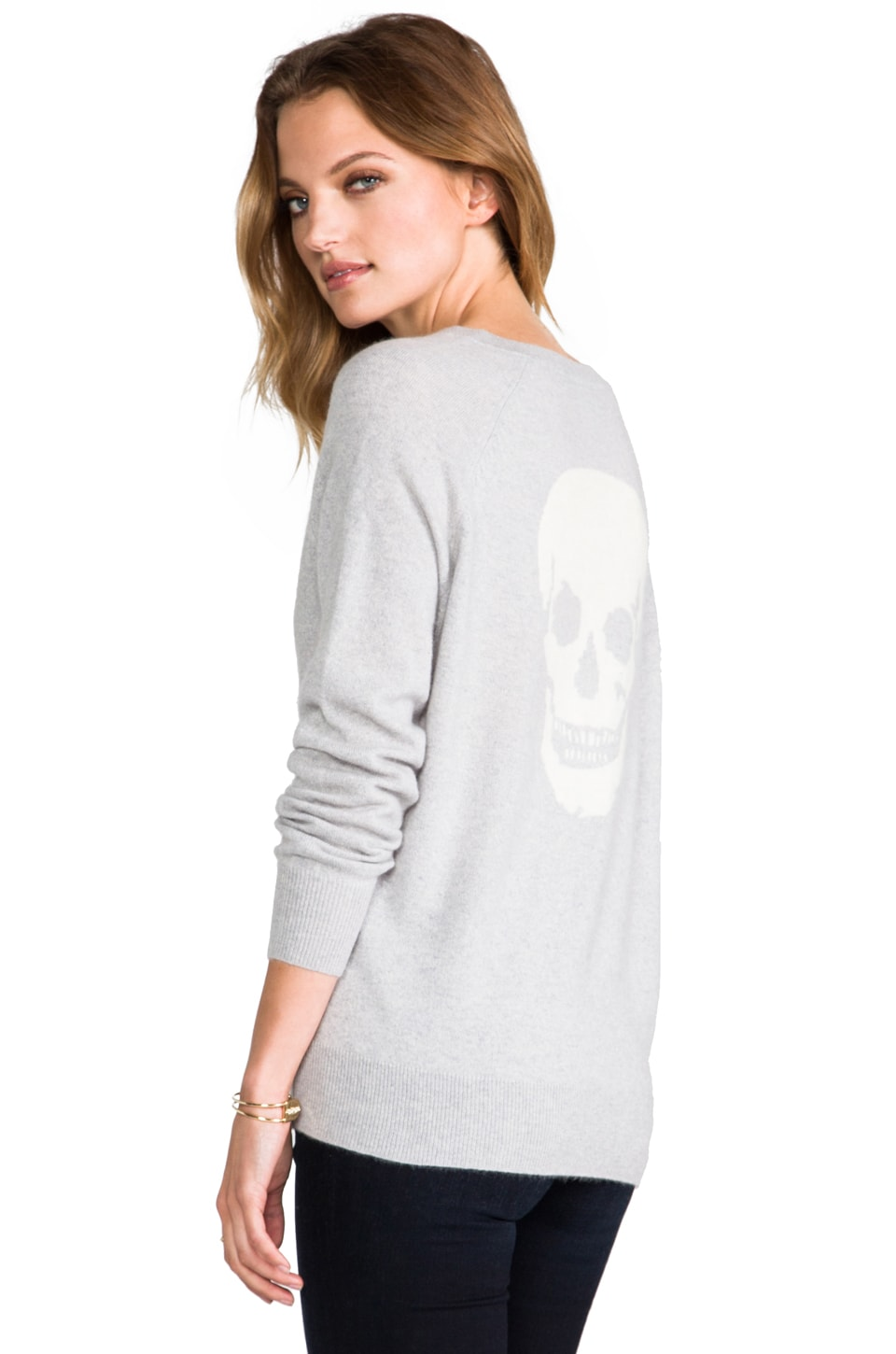 Skull Cashmere Luther Skull Sweater in Powder Grey/Ivory