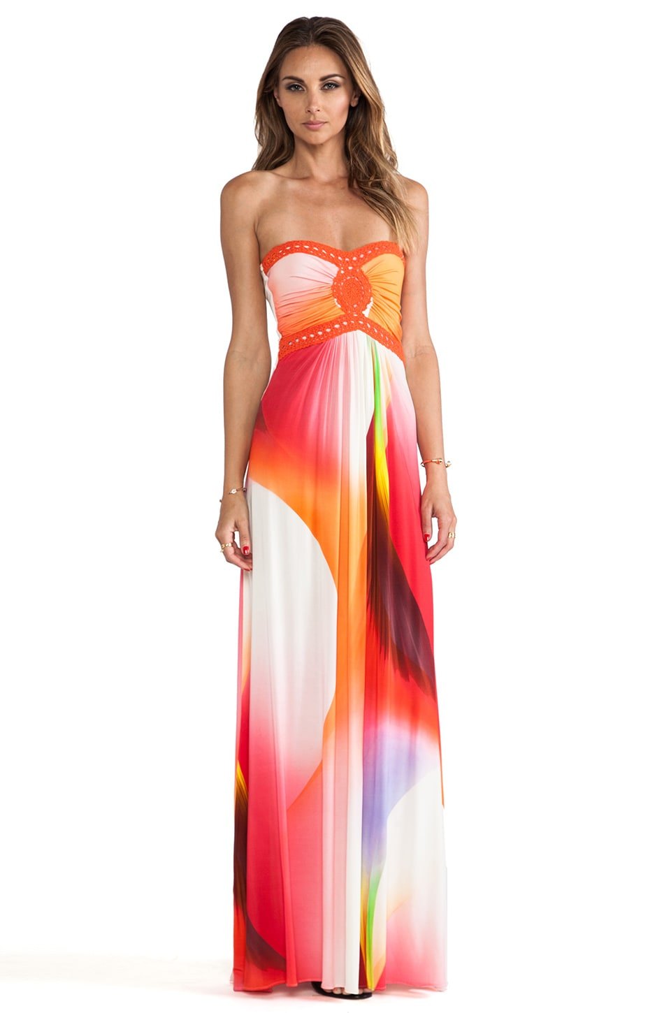 sky Sabi Strapless Dress in Coral