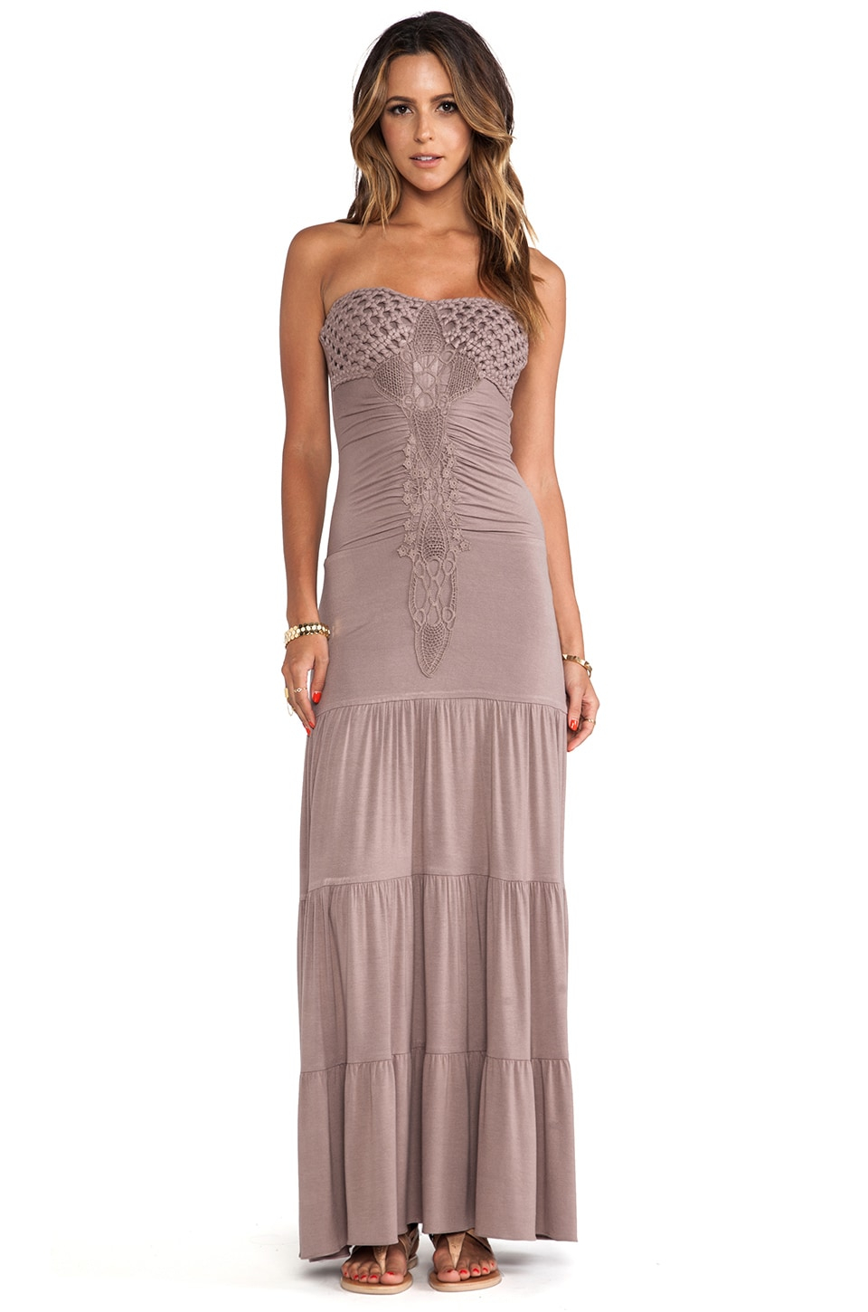 sky Lapis Maxi Dress in Taupe